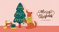 """Cute seasonal design featuring a lettering reading """"Merry Christmas"""" and an illustration of a christmas tree, gift boxes and a dog wrapped in christmas lights. Christmas Tree With Gifts, Christmas Dog, Christmas Lights, Merry Christmas, Dog Tree, Tree Illustration, Mandala, Lettering, Dogs"""