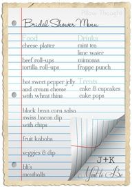 Bridal Shower Food Checklist Good Idea To Have A List Written Out Make Sure There S Enough Finger With Balance Between Sweet And Savory