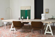Veerle Wenes house and work, in Amberes...Muller Van Severen lamp and chair, and Jens Fager stool