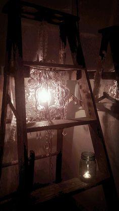 Chandelier on a ladder, via Flickr.