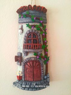 Clay Fairy House, Clay Fairies, Biscuit, Roof Tiles, Stone Houses, Clay Art, Mobiles, Polymer Clay, Lily