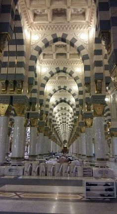 Awesome view of inside masjid al nabavi Islam Muslim, Islam Quran, Islamic Architecture, Art And Architecture, Allah In Arabic, Masjid Haram, Mecca Madinah, Hajj Pilgrimage, Medina Mosque