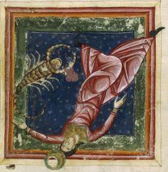 """Luna in caduta nel Segno dello Scorpione. Miniatura dal """"Liber Astrologiae"""" di Georgius Zothorus Zaparus Fendulus, XIII sec."""