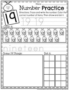 Kindergarten Teen Number Worksheets - Number 19