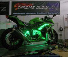Green Glow Strip Level 1 kit to this 2015 Ninja. #LEDLights#LEDAccentLighting