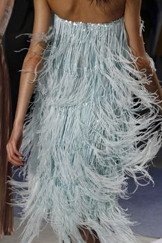 Chanel | pale blue feather fringe trimming dress