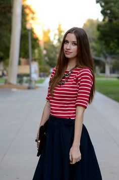 red stripes and navy skirt