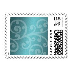Swirls on Teal Shimmer Postage