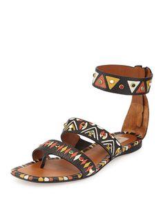 S0DM6 Valentino Hand-Painted Studded Flat Sandal, Nero/Multi