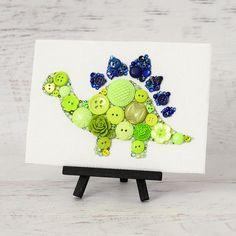 Custom Button Dinosaur  Handmade Button Art  by PaintedWithButtons