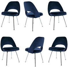 Saarinen Executive Armless Chairs in Navy Velvet, Set of Six