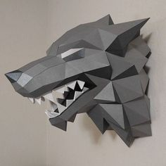 But I have more plans for this wolf. Origami, Stark Sigil, 3d Printing Diy, Paper Mask, 3d Craft, Paper Animals, 3d Paper Crafts, 3d Prints, Animales