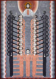"""Nikola Saric  Icon Holy Martyrs of Libya, 100×70 cm, aquarell on paper, 2015.  The Holy Martyrs of Libya are 21 Christians, who were murdered by IS (ISIS) terrorists in February 2015. Before they had denied to renounce their faith though threatened with death for 40 days. The coptic Orthodox church acknowledged them new martyrs.  """"Święci męczennicy libijscy"""", 100 x 70 cm, akwarela, 2015.  Święci męczennicy z Libii to 21 chrześcijan, którzy zginęli z rąk terrorystów z ISIS w lutym 2015 roku."""