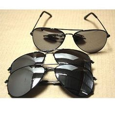 Aviator Sunglasses Black Frame Mirror Lens 3 pack with pouch Online-Welcome. $5.50