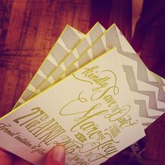 Neon green edge-painted letterpress Save the Dates by Ladyfingers Letterpress