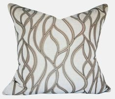 """This Stout Embroidered Trellis Throw Pillow Cover is a Sensational Modern Decorative Pillow, that Showcases the ..""""CORTEZ TOFFEE """".. Print Designer Pattern, From the 1379 - Color My Window Natural / Linen Collection.  This Made in India Pattern Features an Embroidered Applique of an Abstract Trellis / Lattice / Scrollwork Geometric Design, that Provides a Soothing, Flowing Liquid Like Affect. The Applique Color is Taupe and is Stitched with Grey Embroidery"""
