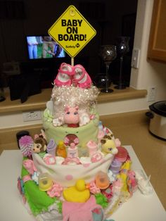 A Diaper Cake for a Girl