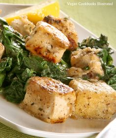 "Vegan Tofu ""Scampi"" with Spinach from the cookbook Quick-Fix Vegan"