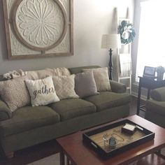 Unsure how to fill the wall space above your couch? Decorate in one fell swoop by hanging a large piece of wall decor! @thekindredcottage used our Cream Metal + Wood Medallion Wall Plaque in her living room, and it looks great! Shop for this piece at the link in our profile. #myKirklands #walldecor #decoratingtips #interiorinspo #woodandmetal