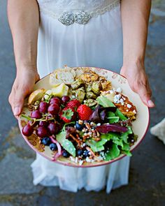 """wedding menu - """"Flavors Catering & Events put together a local and organic menu of vegetarian lasagna, lemon-caper chicken, spinach salad with raspberry vinaigrette, potatoes, and fruit salad."""""""
