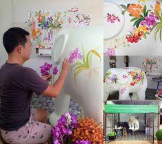 Elefante pintando Chris Chun a través del hilo rojo