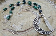 one of a kind handmade crystal necklace - sterling silver - clear quartz, malachite, and amazonite MOON necklace