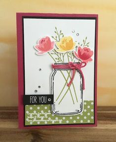 Card featuring Stampin Up's Jar of Love by Jan McQueen. More info @ www.janscreativecorner.blogspot.com
