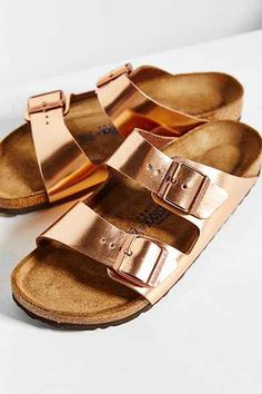 Birkenstock Arizona Metallic Soft Footbed Sandal from Urban Outfitters. Shop more products from Urban Outfitters on Wanelo. Cute Shoes, Me Too Shoes, Double Strap Sandals, Metallic Sandals, Clutch, Pumps, Shoe Game, Or Rose, Slip On Shoes