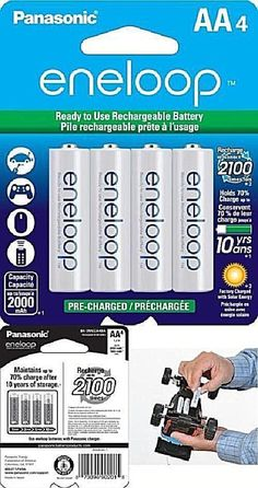 Aa Eneloop-Panasonic Rechargeable Batteries 2100 Cycle Ni-Mh 2000Mah 4 Pack New #Panasonic Hold On