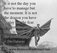 It is not the day you have to manage but the moment. It is not the dragon you have to slay but the fear. It is not the path you have to know but the destination… ~The Universe Dragon Quotes, Universe Quotes, Knowing Your Worth, Poetry Quotes, Slay, Inspire Me, Comedy, Jokes, Inspirational Quotes