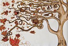 En otoño. Original: acuarela y tinta china sobre lienzo. Impresión de alta calidad sobre papel de lienzo de Barullo en Etsy