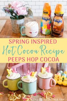 Spring Inspired Recipe: PEEPS Hop Cocoa - Three Clementines, Get ready for Spring with this white hot cocoa recipe using International Delight® PEEPS® Sweet Marshmallow Coffee Creamer! Peeps Recipes, Cocoa Recipes, Easter Recipes, Coffee Creamer Recipe, Marshmallow Peeps, Hot Cocoa Recipe, Sugar Sprinkles, Chocolate Caramels, White Chocolate Chips