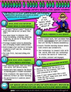 """""""Creating library spaces that speak volumes"""" infographic The Adventures of Library Girl Library Rules, Library Girl, Library Boards, Library Lessons, Library Signs, Dream Library, Middle School Libraries, Elementary Library, Library Science"""