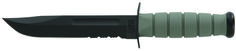 """KA-BAR Foliage Green model 5012 offers an oval shaped non-slip Kraton G elastomer handle which provides for better control during use even in wet conditions. The 7"""" full tang combo edge blade is epoxy powder coated to protect against corrosion, constructed of (1095) Cro-Van steel, and the blade has a [HRC 56-58] hardness rating. The knife's blade is flat ground sharpened to 20 / 20 degrees with buff polished edges for better edge retention. www.tomarskabars.com"""
