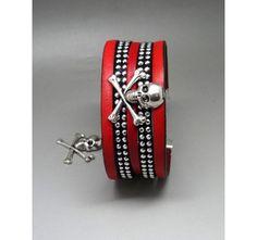 bracelet rock skull rouge et noir