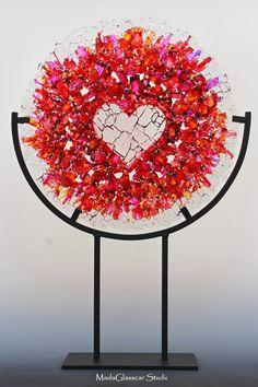 Random Heart Fused Glass Table Top Suncatcher
