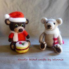 Needle felted Christmas bear each sold by FunFeltByWinnie on Etsy
