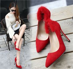 >> Click to Buy << 2017 Spring Women's Shoes Real Rabbit Fur High Heels Shoes Pointed Toe Thin Heels Singles Shoes Red Wedding Shoes Pumps C534 #Affiliate