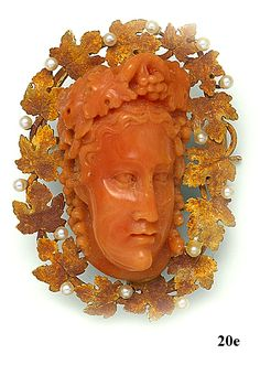 Carved coral cameo, natural pearl and gold brooch, via Back to Victorian