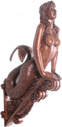 Mermaid Figurehead Wood finish without Shells (because you're a mermaid...why be modest?!)