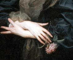 """detailsofpaintings: """" Anthony Van Dyck, Portrait of a Woman with Roses (detail) 1635-39 """""""