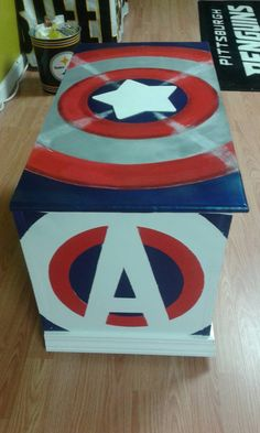 Items similar to Captain America toy box, toy storage, Super heroes toy box, . Marvel Boys Bedroom, Marvel Room, Personalised Wooden Toy Box, Wooden Toy Boxes, Kids Toy Boxes, Toy Storage Boxes, Firefighter Toys, Big Toy Box, Captain America Toys