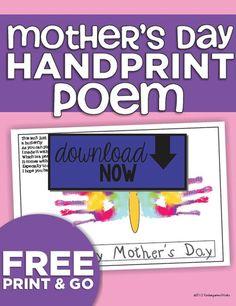 Handprint Poem Mothers Day - KindergartenWorks