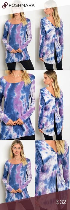 "Amazing Tie Dye Split Back Tunic Top S Amazingly beautiful (even prettier in person) tie dye knotted back tunic top. Super soft, flowy & stretchy rayon.  Love the flattering fit with sexy back. Each pattern varies slightly.   Small Bust 32-34-36 Length 29"" Tops"
