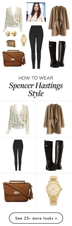 """Spencer Hastings Style"" by mari-lomova on Polyvore featuring Karl Lagerfeld, Topshop, Aerosoles, Chicwish, Dorothy Perkins, Michael Kors, Eddie Borgo, ALDO, women's clothing and women"