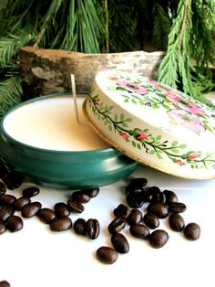 soy candle in vintage floral tin  collectable by LemonRoseStudio, $24.00
