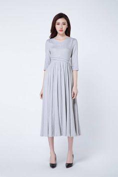 light grey dress linen dress maxi dress V neck dress elbow