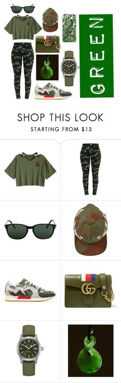 """""""GREEN"""" by knomstar on Polyvore featuring Persol, Off-White, Philippe Model, Gucci, Hamilton and Casetify"""