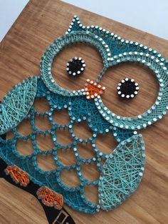 "Owl String Art - $45.00 - Custom Made To Order - 12""x11"""