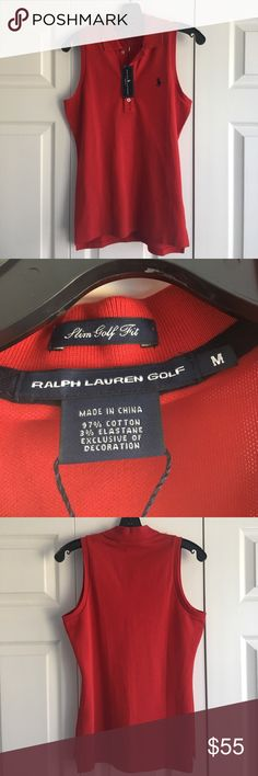 Ralph Lauren Polo Golf SLIM FIT tank shirt RED ⛳️ Ralph Lauren Polo Golf Shirt sleeveless Tank top in red. New with tags!! Purchased from Oakland Hills Country Club for $70. No damage. Slim fit so you can still look chic yet appropriate at the club! Beautiful shade of red with the signature Pony logo with navy blue stitching! 🐴 🏌 Polo by Ralph Lauren Tops Tank Tops